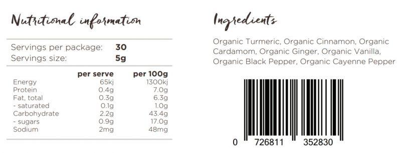 Turmeric latte Nutritional panel
