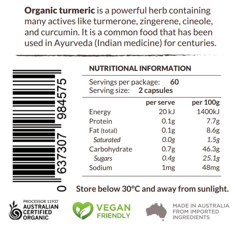 Turmeric Capsules Original Nutritional Information