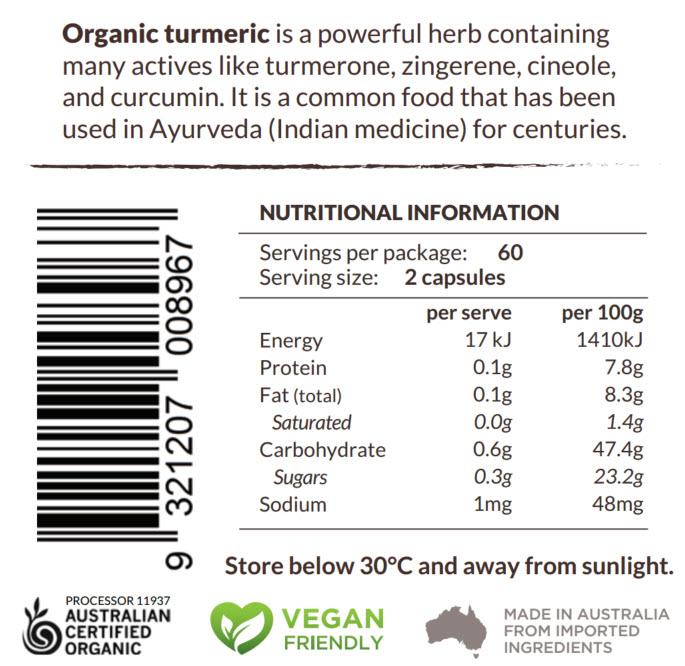 Turmeric Capsules Plus Nutritional Panel