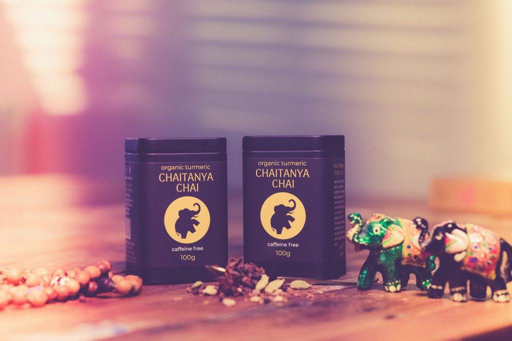 Organic Turmeric Caffine Free Chaitanya Chai Banner
