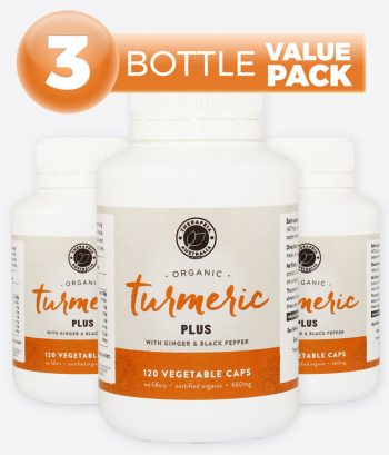 Organic Turmeric Plus with Ginger & Black pepper - 3 Bottle Value Pack