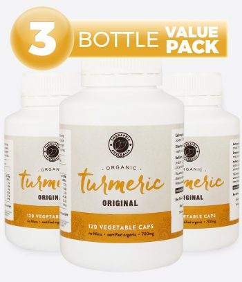 Organic Turmeric Original 120 Vegetable Caps - 3 Bottle Value Pack